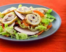 Spirals of Omlette with Mushrooms an a Bed of Lettuce