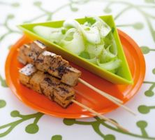 Skewers of Marinated Tofu with Spicy Cucumber Salad