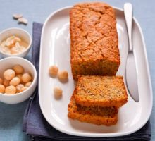 Carrot plumcake with cashews butter, macadamia nuts and orange