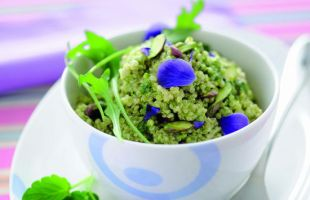 Quinoa with Arugula and Pistachios Pesto with Violets