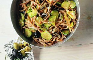 Spaghetti with Courgettes, Olives and Taleggio Cheese